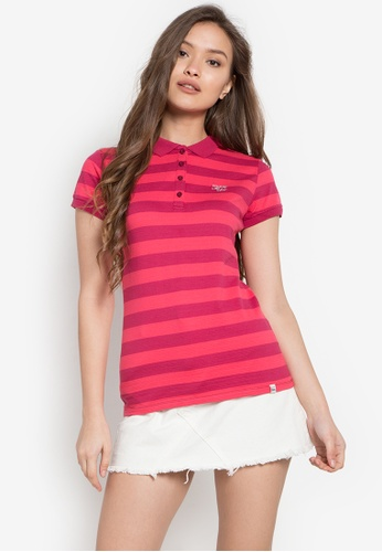 Stylistic Mr. Lee red and orange Short Sleeves Stripes Polo Shirt MR206AA0KEUYPH_1
