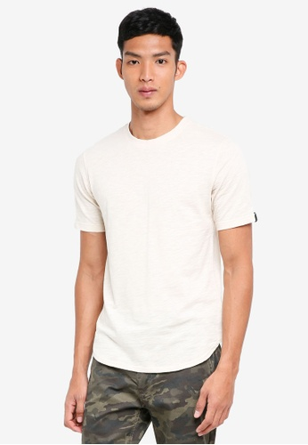 UniqTee beige Curved Hem Plain-Colored T Shirt 4BDBBAAB61B17FGS_1