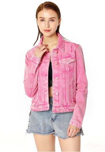 London Rag pink Pink Distressed Denim Jacket CC7ADAA23A2734GS_1