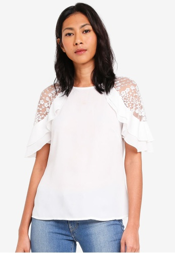 Lipsy white White Lace Frill Top 3D34BAA693EA4AGS_1