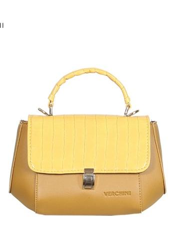 Verchini yellow Verchini Stone-Embellished Geometric Bag 49CC0AC675B068GS_1