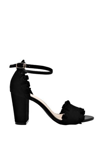 CO BLANC black CO BLANC Ruffled Ankle Strap Heel Sandals 161D2SH5E501ABGS_1