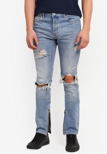 Topman blue Light Wash Stacker Jeans TO413AA0SJKOMY_1