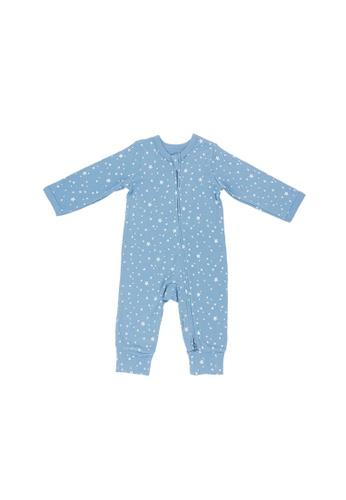 Baby Lovett blue Dreamy Stars Two-Way Zipper Suit 5D29DKA76910AFGS_1