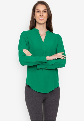 MARKS & SPENCER green Notch Neck Long Sleeve Blouse 86105AA2344871GS_1
