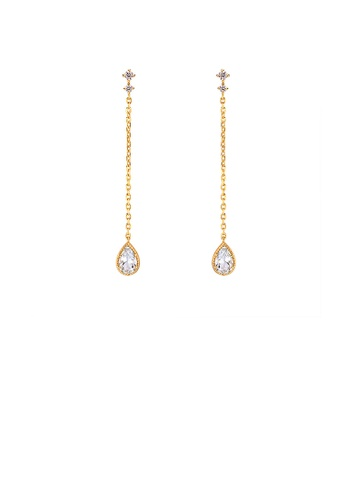 Glamorousky blue 925 Sterling Silver Plated Gold Simple and Fashion Geometric Water Drop-shaped Tassel Earrings with Cubic Zirconia 7A948AC34DCBF6GS_1