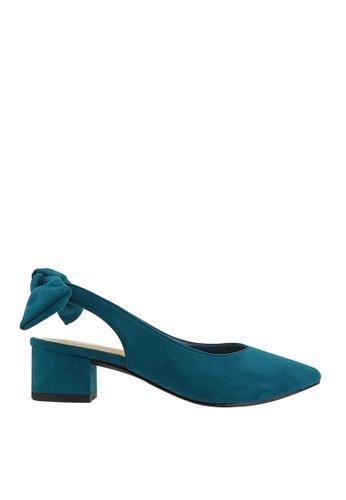CO BLANC green and blue CO BLANC Back-bow Slingback Heels 57B52SH7BBD848GS_1