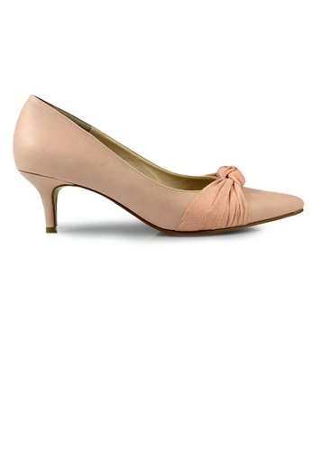 SHINE beige SHINE Knotted Pointed Toe Stiletto Heel Pump BD66ASH8F68576GS_1