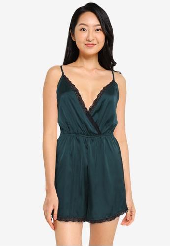 ZALORA BASICS black and green Lounge Lace Hem Satin Playsuit 8FAF7AA15F0CC8GS_1