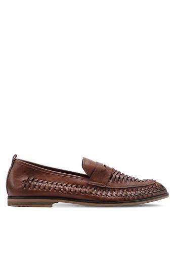 Topman 褐色 編織樂福鞋 9B739SH005CC16GS_1