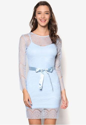 蕾絲花邊蝴蝶結伴娘禮esprit 衣服服, 服飾, 短洋裝