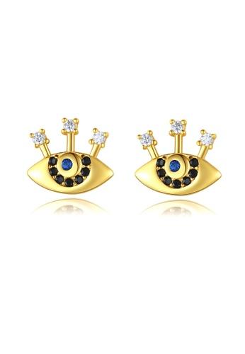 SUNRAIS gold Premium Silver S925 golden eye earrings 479BFACC650D4CGS_1