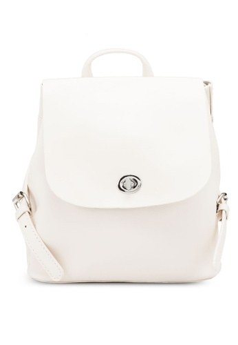 NATALIE & PEPPER white Alice Buckle Backpack B0112ACE451E0CGS_1
