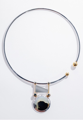 Paradeisos Jewellery black and white and silver and gold Delphi Natural Ocean/Marine Chalcedony Circular Elastic Choker PA467AC0GHUASG_1