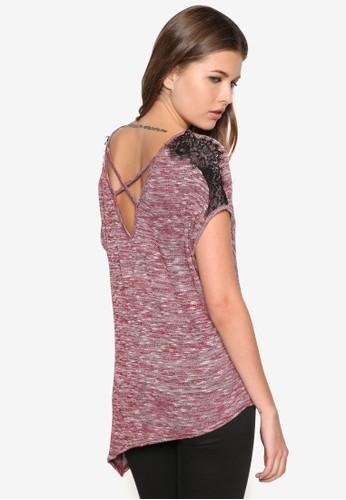 蕾絲拼貼不對稱混zalora時尚購物網的koumi koumi色TEE, 服飾, 服飾