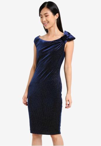 Goddiva navy Glitter Velvet Midi Dress With Bow Detail GO975AA0SSC6MY_1