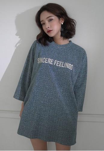 韓時尚 Sincere Feelings 閃飾長esprit台灣版上衣, 服飾, 洋裝