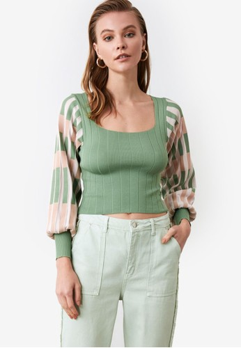 Trendyol green Square Neck Balloon Sleeve Crop Sweater FF38FAA995A11EGS_1