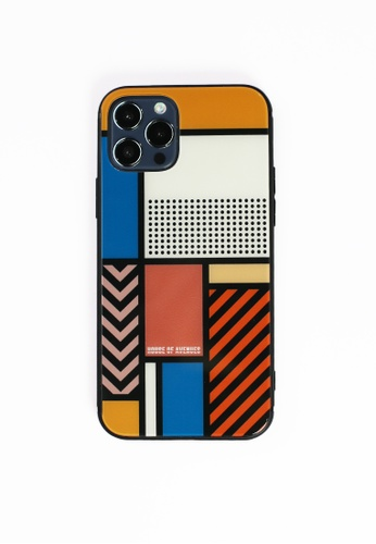 House of Avenues multi Color Block Memphis Pattern Tempered Glass Shell Phone Case For iPhone 12 A3380AC62ECBB2GS_1