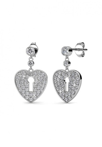 Her Jewellery silver Heart Lock Earring WG - Anting Crystal Swarovski by Her Jewellery 5D3D2ACB7A62F8GS_1