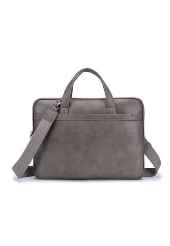 ENZODESIGN grey Premier Full Grain Leather Light Weight Slim Briefcase-12196GRY FE2F5AC06B756DGS_1