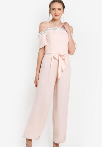 Miss Selfridge pink Premium Pink Lace Cold Shoulder Jumpsuit MI665AA82EARMY_1