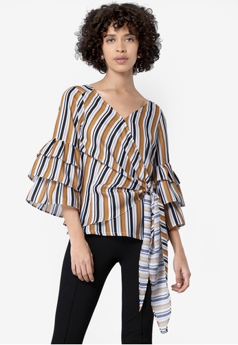 FabAlley yellow Striped Bell Sleeve Wrap Top 1AB57AA1F68BF7GS_1