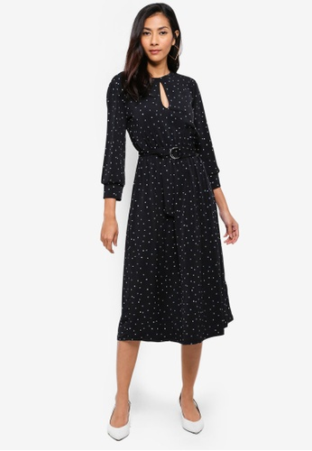 WAREHOUSE 黑色 Star Print Midi Dress 1D64FAAD22446EGS_1