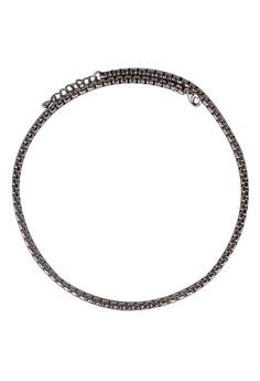 Paris Bijoux LN10311A Men's Chain Necklace Rhodium Plated