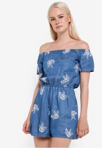 Miss Selfridge blue Embroidered Bardot Playsuit MI665AA46YBHMY_1