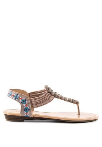 London Rag pink Teddi Flat Toe Post Sandals 40A21SH1F121F4GS_1