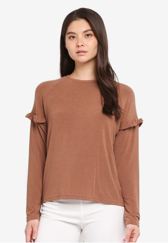 Tokichoi brown Ruffled Detail Sleeves Top 12D92AAC25F117GS_1