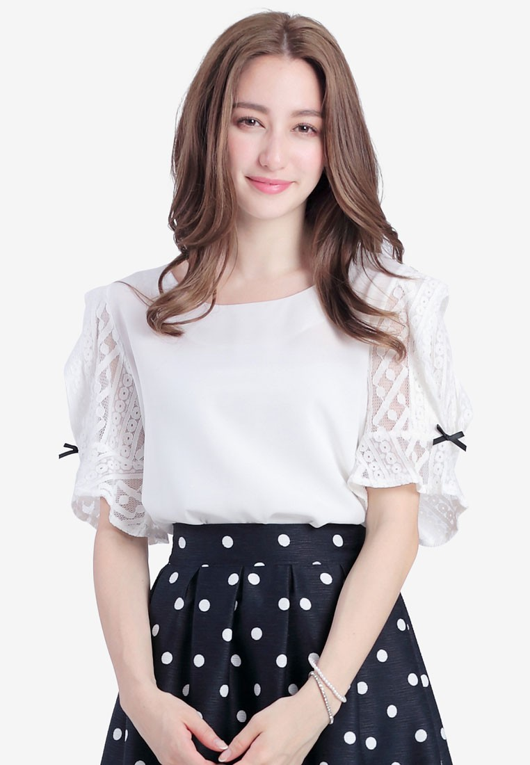 Top with Lace Sleeves and Ribbons
