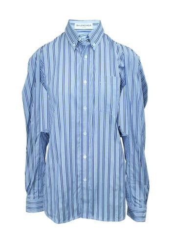 Balenciaga 藍色 balenciaga 藍色條紋襯衫,腋下有鏤空 DF3C7AA55563C3GS_1