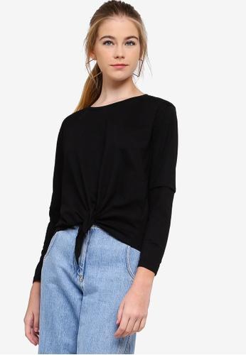Something Borrowed black Long Sleeve Tie Top D9168AA4CDAE61GS_1