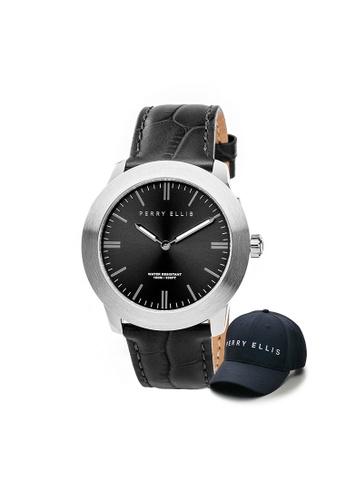 Perry Ellis black Perry Ellis Slim Line Unisex 42mm Quartz Watch 07002-01 with Perry Ellis Cap 0E89AACB35ED48GS_1