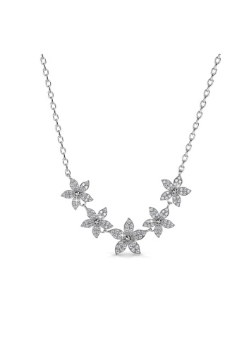 Her Jewellery silver Swarovski® Crystals - Bloom Quint Pendant (18K White Gold Plated) Her Jewellery HE581AC0R9U7MY_1