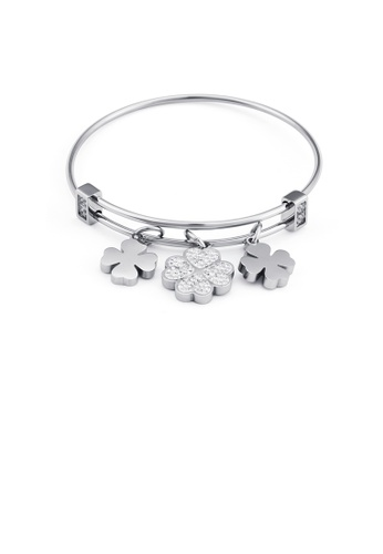 Glamorousky white Fashion and Elegant Four-leafed Clover Cubic Zirconia 316L Stainless Steel Bangle 37633ACCF102F7GS_1