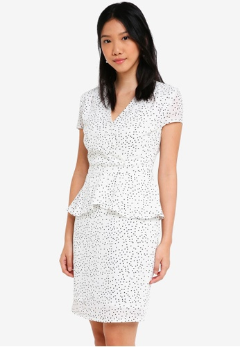 ZALORA white Short Sleeves Wrap Peplum Dress 41A50AA83C8D56GS_1