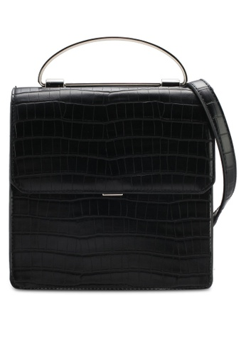 Nose black Croco Print Crossbody Bag NO327AC0SJ24MY_1