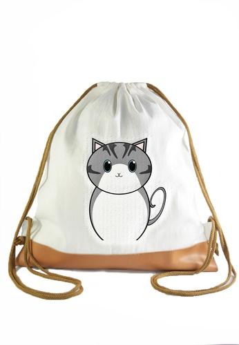76fd69425ebc Shop Myriad Print Concepts Drawstring Bag Gray Cat Online on ZALORA  Philippines