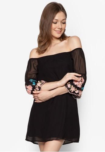 露肩印花zalora 衣服尺寸拼袖洋裝, 服飾, 洋裝