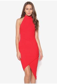 High Neck Asymmetric Bodycon Dress