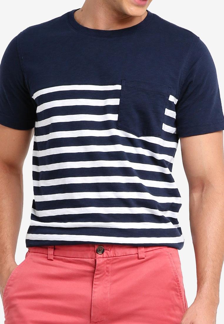 Brooks Red Pocket Fleece Navy Stripe Brothers Tee 7ZqzZPwnxW
