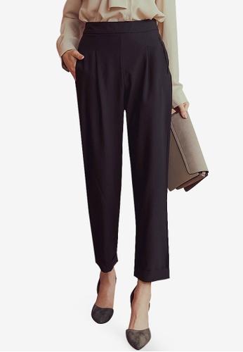 Kodz black Pleated Design Suit Pants 6D76FAAA73F72AGS_1