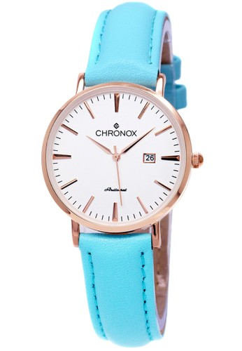 CHRONOX blue Chronox CX1002/B5 - Jam Tangan Wanita Casual - Tali Kulit Biru Tosca - Putih Rose Gold D5056AC606DAC6GS_1