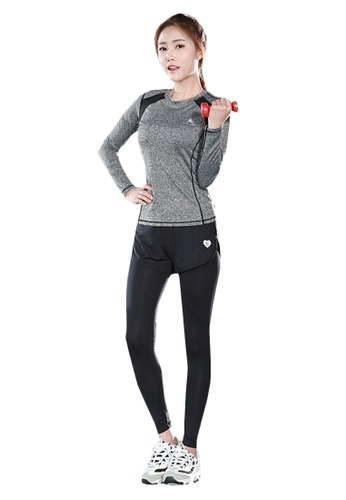 B-Code grey ZYG5150-Lady Quick Drying Running Fitness Yoga Sports Top and Leggings with Shorts-Grey 38D93AAC25A668GS_1