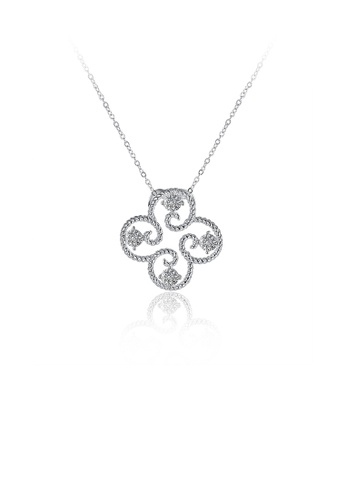 Glamorousky white Simple and Fashion Four-leafed Clover Pendant with Cubic Zircon and Necklace A0E34AC04E9D3AGS_1