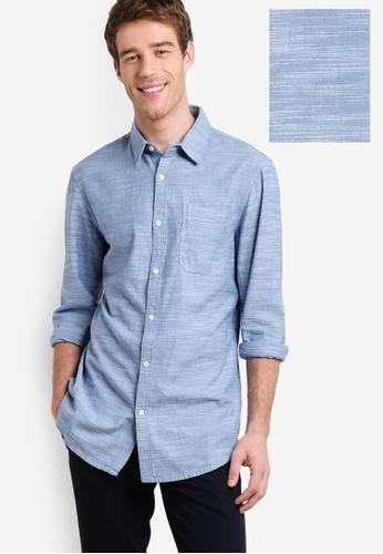 New Look blue Chambray Long Sleeve Shirt NE182AA44EZFMY_1