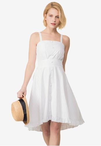 Kodz white Square Neckline Textured Dress 9D2C2AA4F3F73BGS_1